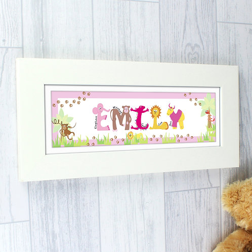 Personalised Pink Animal Alphabet Name Frame (PMC)
