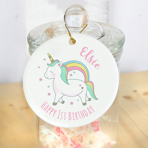 Personalised Baby Unicorn Round Decoration (PMC)