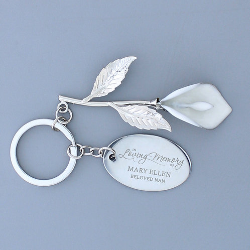 Personalised Silver Plated 'In Loving Memory' Calla Lily Keyring (PMC)