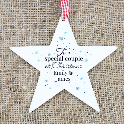 Personalised 'Special Couple' Wooden Star Decoration (PMC)