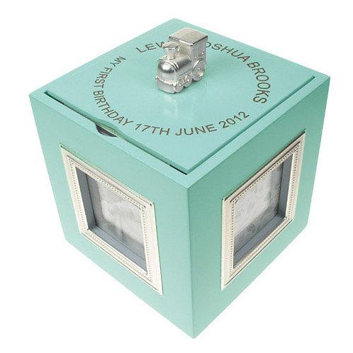 First Birthday Blue Musical Keepsake Box with Photo Frames