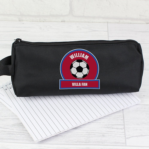 Personalised Claret and Blue Football Fan Pencil Case (PMC)
