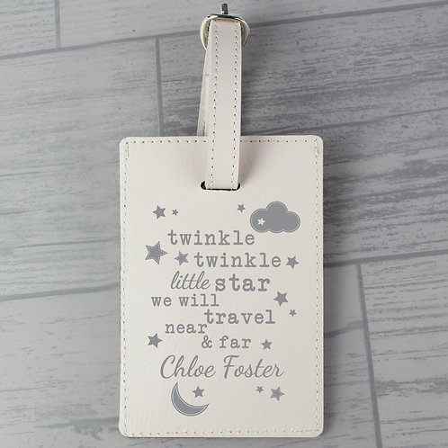 Personalised Twinkle Twinkle Cream Luggage Tag (PMC)