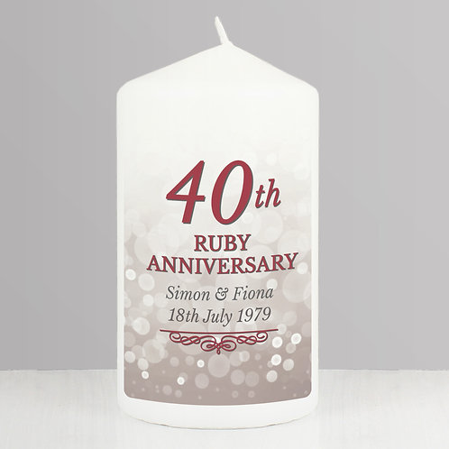 Personalised 40th Ruby Anniversary Pillar Candle (PMC)