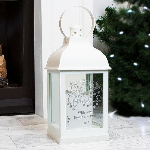 Personalised Silver Reindeer White Lantern (PMC)