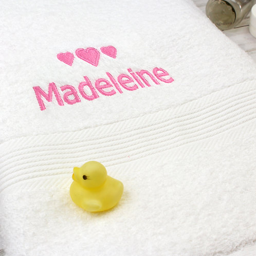 Personalised Pink Hearts White Bath Towel (PMC)
