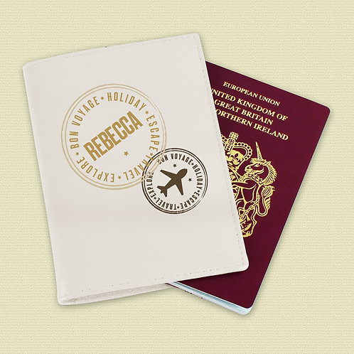 Personalised Stamped Cream Passport Holder (PMC)