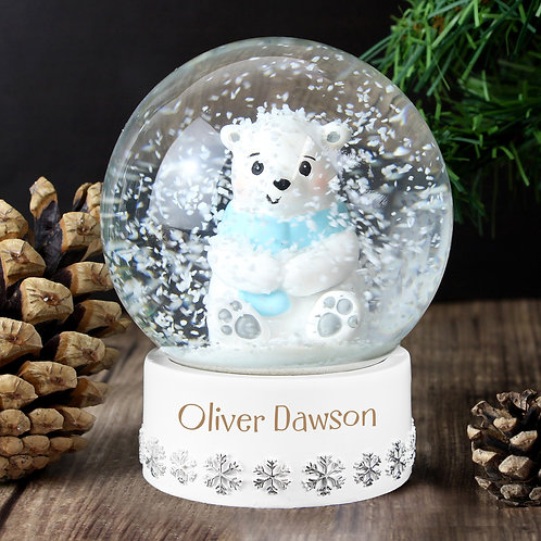 Personalised Polar Bear Any Name Snow Globe (PMC)