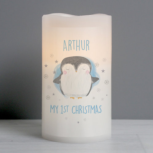 Personalised 1st Christmas Penguin LED Candle (PMC)