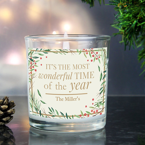 Personalised 'Wonderful Time of The Year' Christmas Scented Jar Candle (PMC)