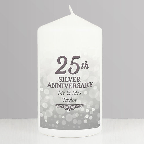 Personalised 25th Silver Anniversary Pillar Candle (PMC)