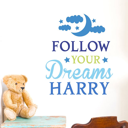 Personalised Follow Your Dreams Blue Wall Art (PMC)