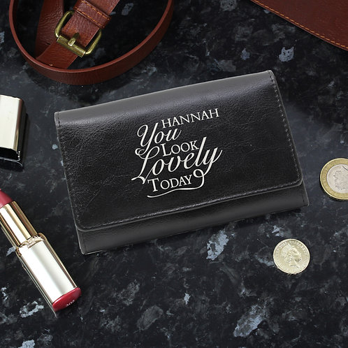 Personalised You Look Lovely Black Purse (PMC)