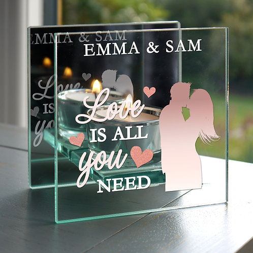 Personalised 'Love is All You Need' Mirrored Glass Tea Light Holder (PMC)
