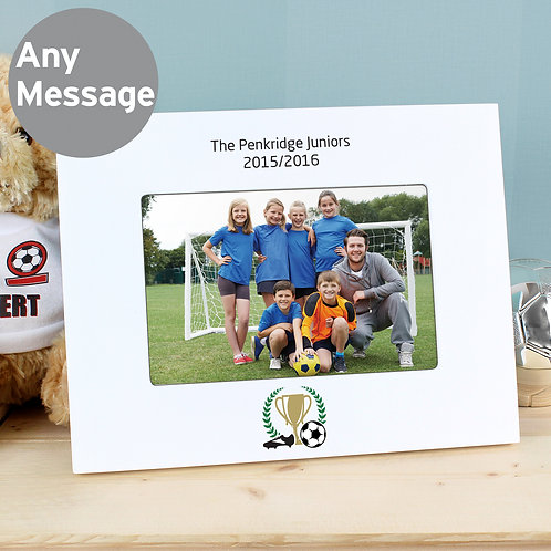 Personalised Football 6x4 Landscape White Wooden Photo Frame (PMC)
