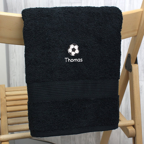 Personalised Football Black Hand Towel (PMC)
