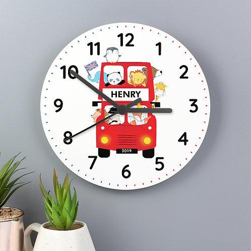 Personalised London Animal Bus Wooden Clock (PMC)