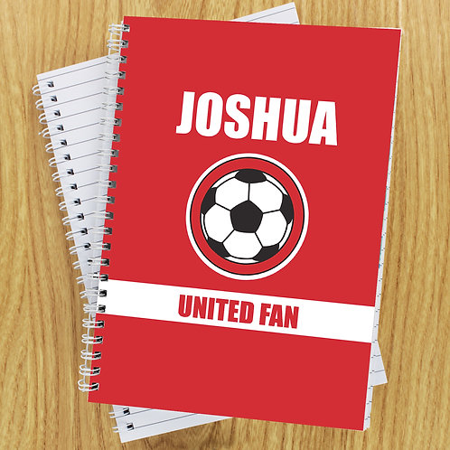Personalised Red Football Fan A5 Notebook (PMC)