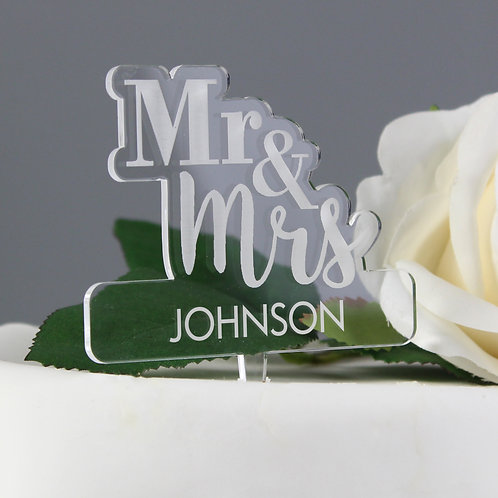 Personalised Mr & Mrs Acrylic Cake Topper (PMC)