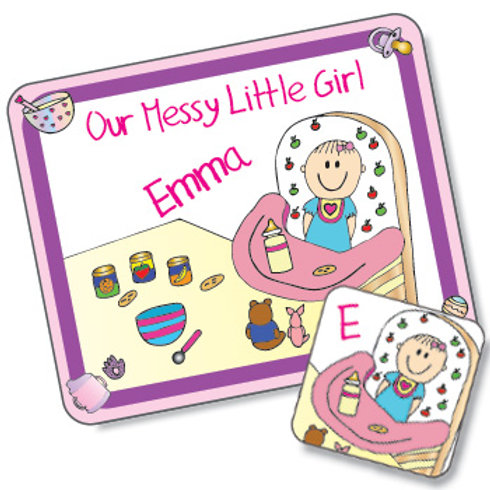 Messy Little Girl Design Placemat and Coaster Set (PTG)