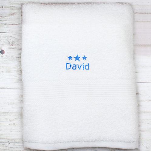 Personalised Blue Stars White Bath Towel (PMC)