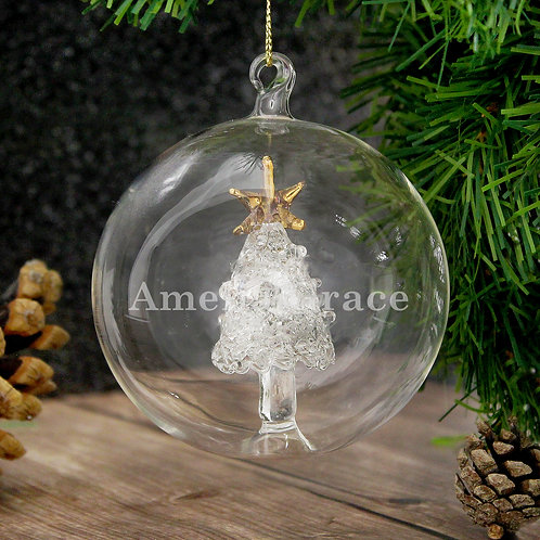 Personalised Name Only Christmas Tree Glass Bauble (PMC)