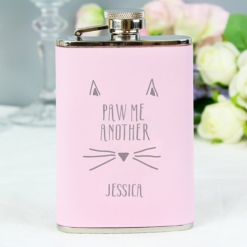 Personalised Paw Me Another Pink Hip Flask (PMC)