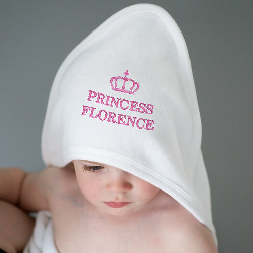 Personalised Pink Princess White Hooded Baby Towel (PMC)