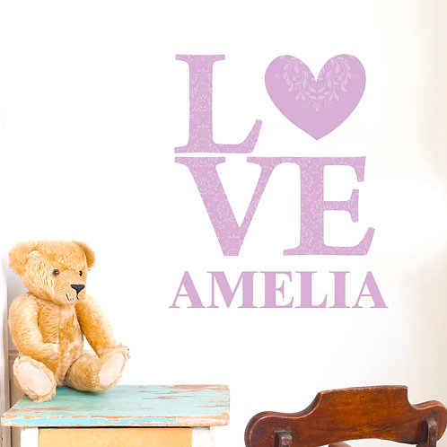 Personalised LOVE Lilac Wall Art (PMC)