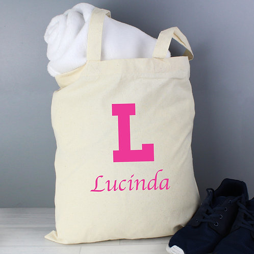 Personalised Pink Initial Cotton Bag (PMC)