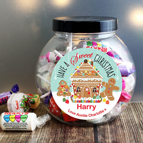 Personalised Gingerbread House Sweet Jar (PMC)