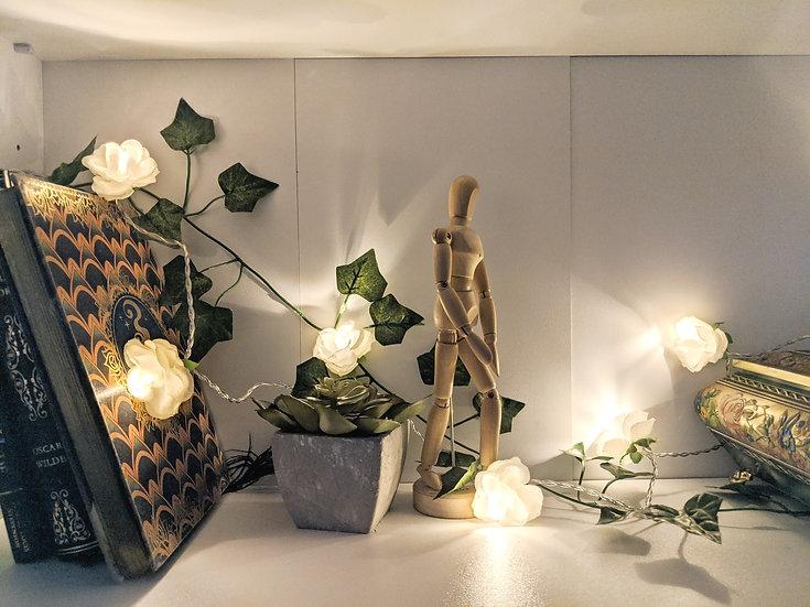 White Rosebud fairy lights