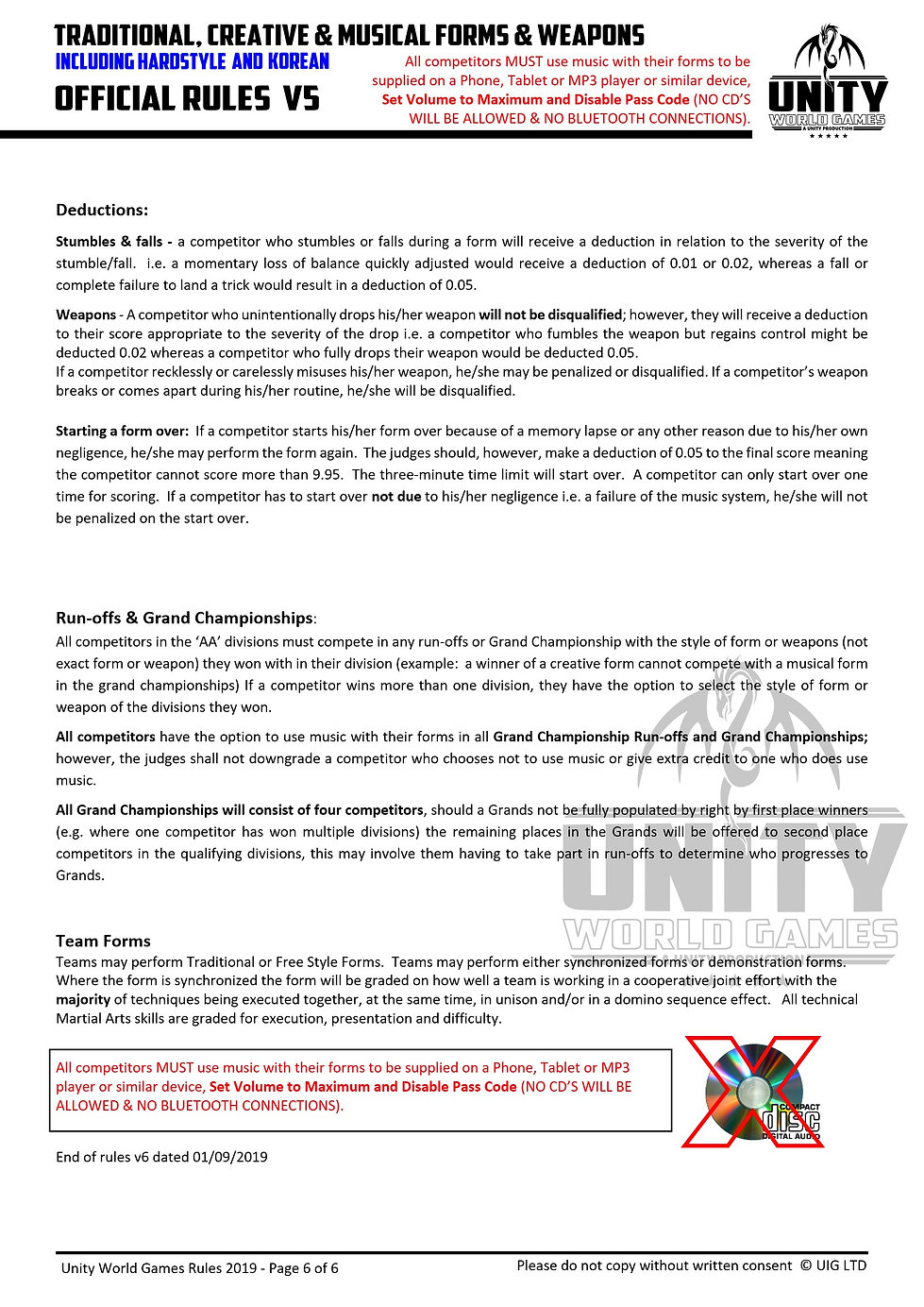 unity 7 official rules FORMS & KATA 0109