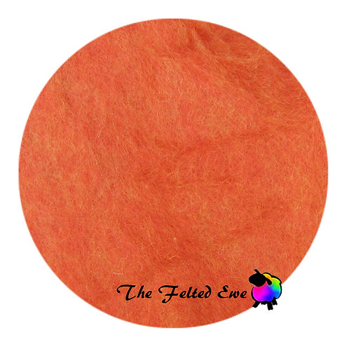 CB5 Mandarin Orange Carded Wool Batt