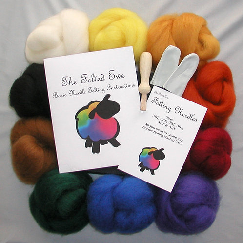 Deluxe 10 Wool Color Needle Felting Kit