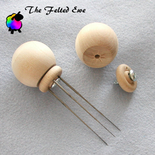 Wooden Ball Felting Needle Holder