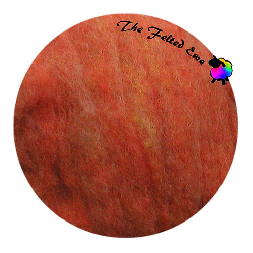 HFB5 Tangerine Heathered Wool Fluffy Batt