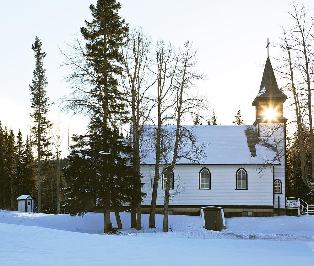 Winter at Nordegg Community Church in Alberta, Canada