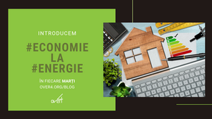 Cadran verde cu titlul seriei si logo-ul Over4 si o imagine reprezentativa cu o casa si un grafic care arata economia la energie