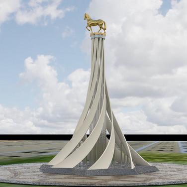 Türkmenistan Atlı anıt projesi