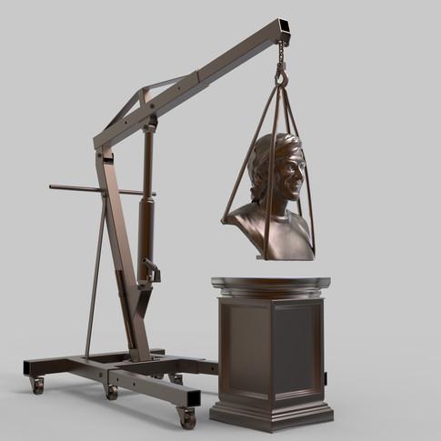 Ahmet Öğüt tasarımı 3d Modelleme ve yapımı üstlenilmiştir. Malzeme :Bronz & Demir