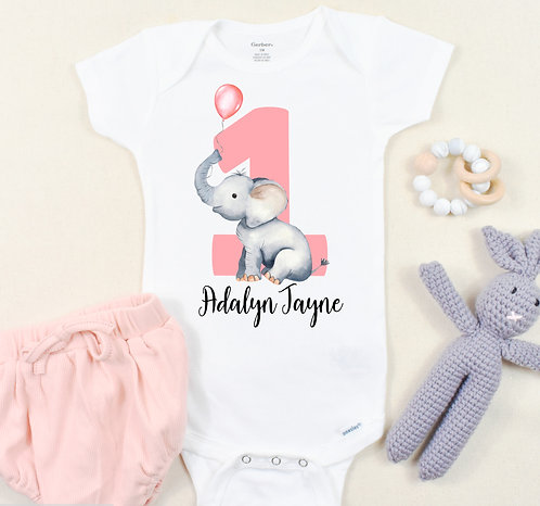 Personalized Elephant First Birthday Onesie ® or T-Shirt, 1st Birthday Outfit