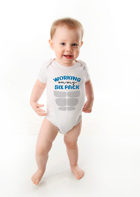 Funny Baby Boy Onesie ® - Working on My Six Pack - Funny Baby Gifts - Baby Graph