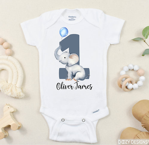 Personalized First Birthday Elephant Onesie ® or T-Shirt for Baby Boy