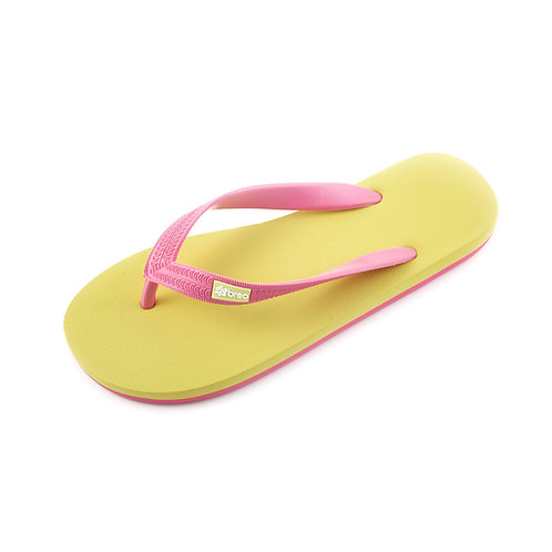 Breo Natural Rubber Thongs - Yellow/ Pink