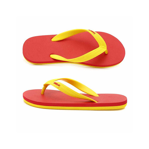 malc&andi Kids Organic Rubber Thongs - Red/ Yellow