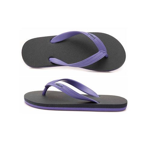malc&andi Kids Organic Rubber Thongs - Charcoal/ Purple