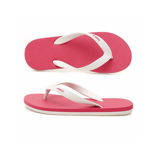 malc&andi Kids Organic Rubber Thongs - Pink/ White