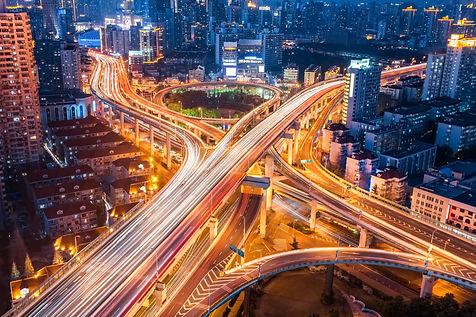 city interchange closeup at night , beau