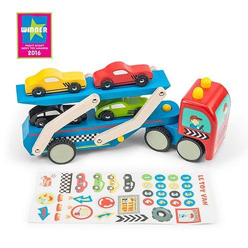 Le Toy Van – Race Car Wooden Transporter Set